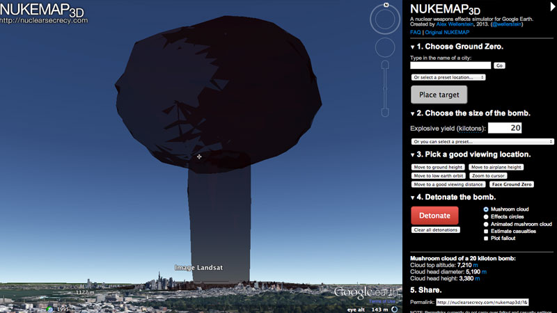 Map monday maps that go boom htxtrica a while ago the internet was abuzz with talk of a tool called nukemap a google maps mashup that let users virtually blow up cities with nuclear bombs sciox Choice Image
