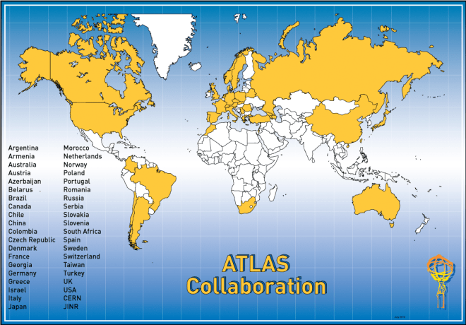 Map showing countries in collaboration in the ATLAS experiment.