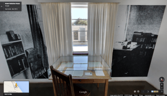 Robert Sobukwe's desk inside the house where he spent years in solitary confinement