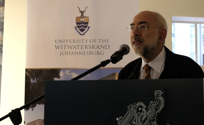Professor Dwolatzky speaking at the media opening of Tshimologong.