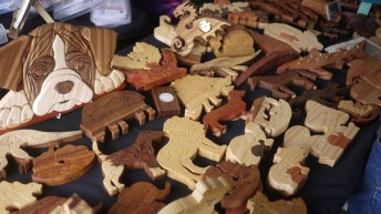 Some really cool, geeky wood ornaments.