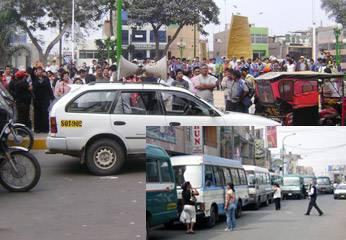 Transportistas arengando en defensa del alcalde Huaral