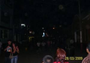Las  calle principales del centro de Huaral,como el Boulevar,  estaban apagadas las luces del vía publica, asi como letreros luminosos de establecimientos.