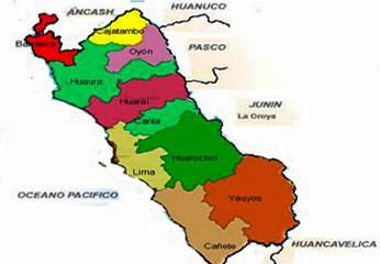 Mapa de las 9 provincias que conforman la Región Lima