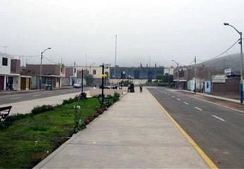 Calles asfaltadas de centro poblado Pasamayo.