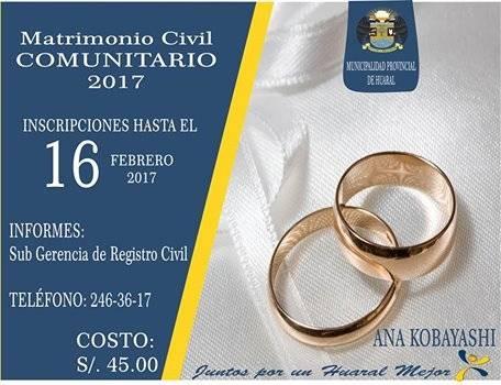 Una gran oportunidad para regularizar tu estado civil Matrimonio Masivo 2017