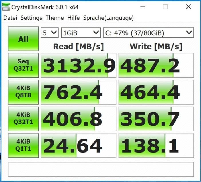 Huawei Matebook X Pro Test Crystal Disk Mark