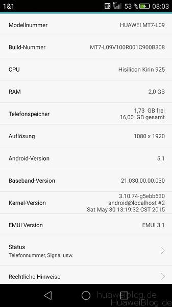 Huawei Mate 7 Firmware B308