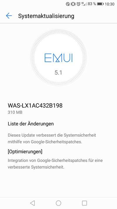 Huawei P10 Lite WAS-LX1AC432B198 Update