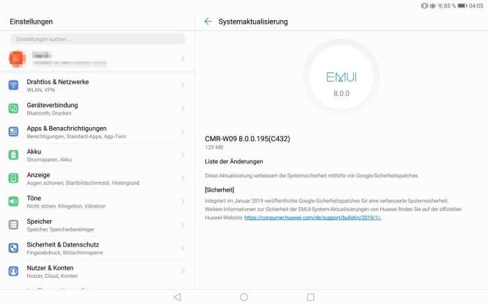 Huawei P10 und MediaPad M5 erhalten Sicherheitsupdates. 5