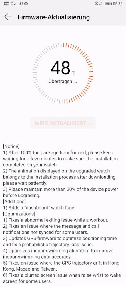 HUAWEI WATCH GT Firmware Aktualisierung 1.0.3.88 - Neues Watchface - Changelog
