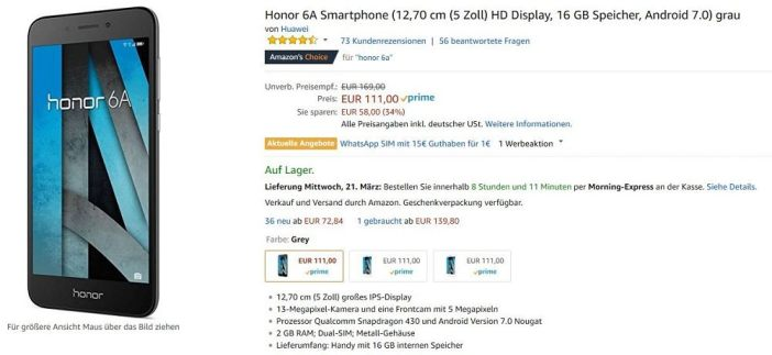 honor 6A Amazon Angebot
