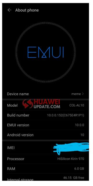 Honor 10 EMUI 10.0.0.152