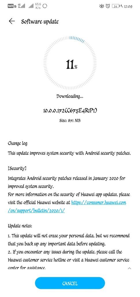 Honor 10 EMUI 10 Jan 2020 security patch