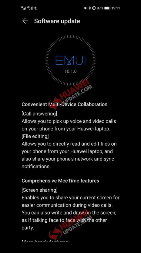 Huawei P30 series EMUI 10.1.0.135 Changelog