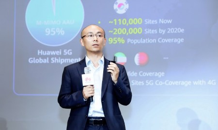 Huawei Wireless Product Line Vice President Gan Bin speaks at 5G Summit