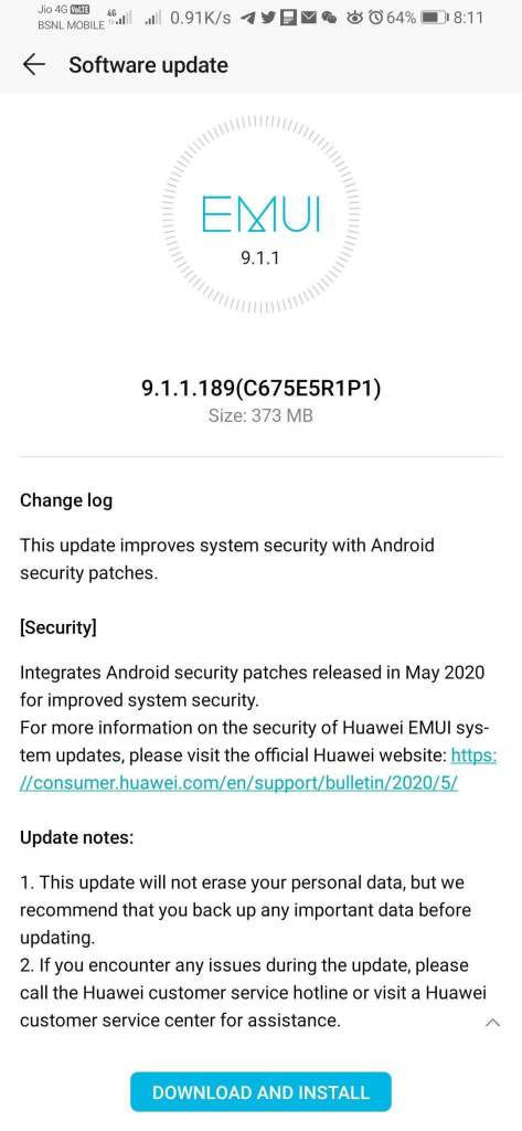 Honor 9X Pro May 2020 security update India