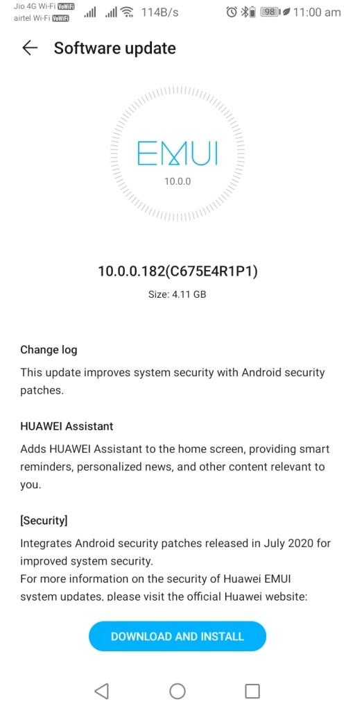 Honor V10 EMUI 10.0.0.182