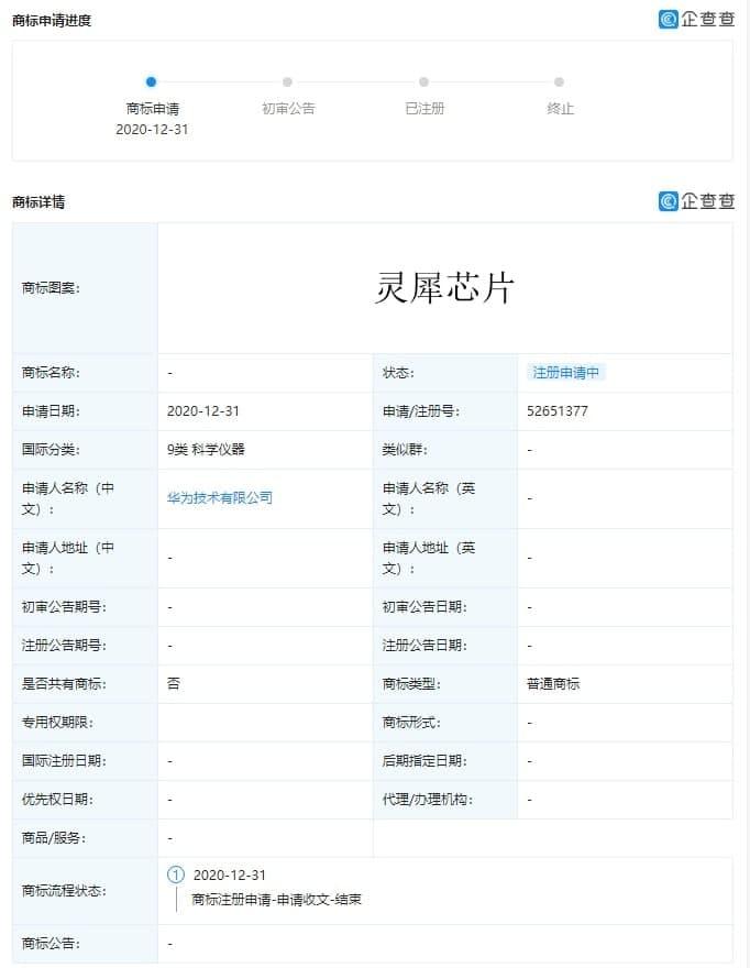 Lingxi Chip and Lingxi Processor trademark