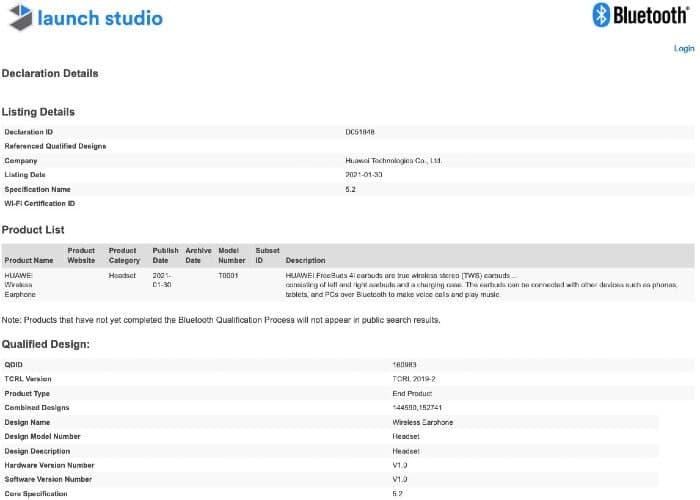 Huawei FreeBuds 4i certificate