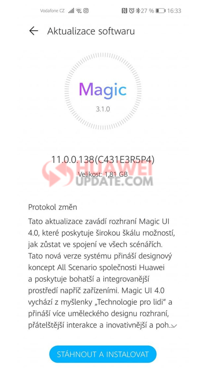 Honor 20 Stable Magic UI 4 (EMUI 11) C431E3R5P4