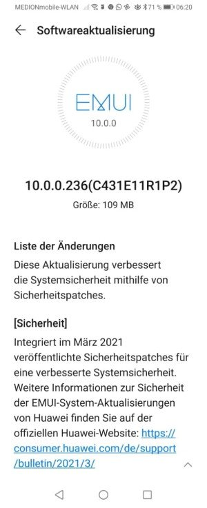 Huawei P Smart Z 2021 March 2021 patch update