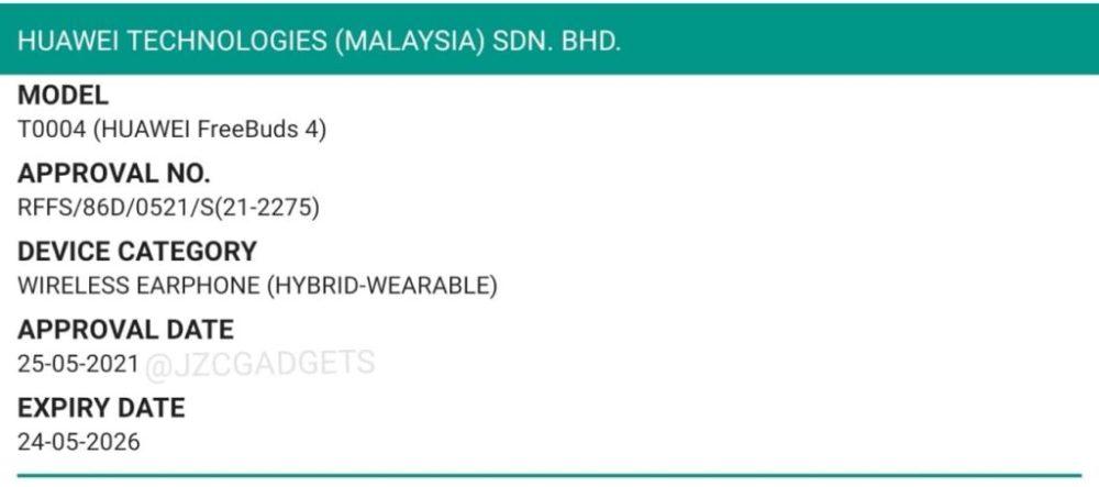Huawei-freebuds-4-certificate-malaysia