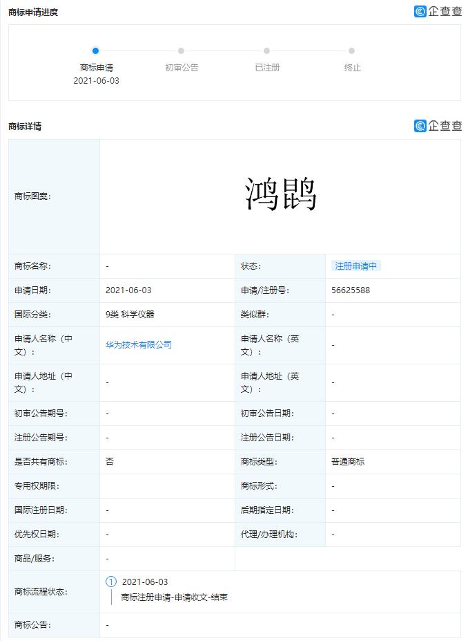 Huawei Hong Kun trademark