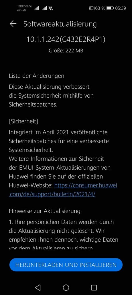 Huawei P40 Lite 5G April 2021 security patch