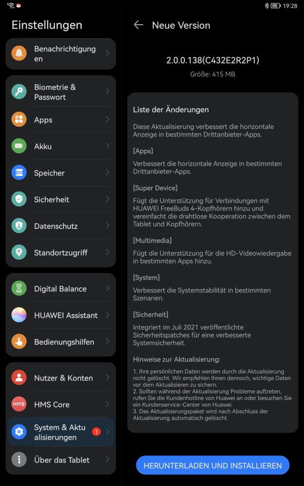 Huawei MatePad 11 2.0.0.138 update