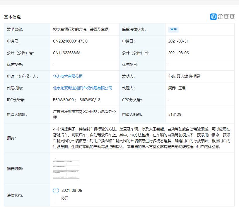 Huawei Car Patent