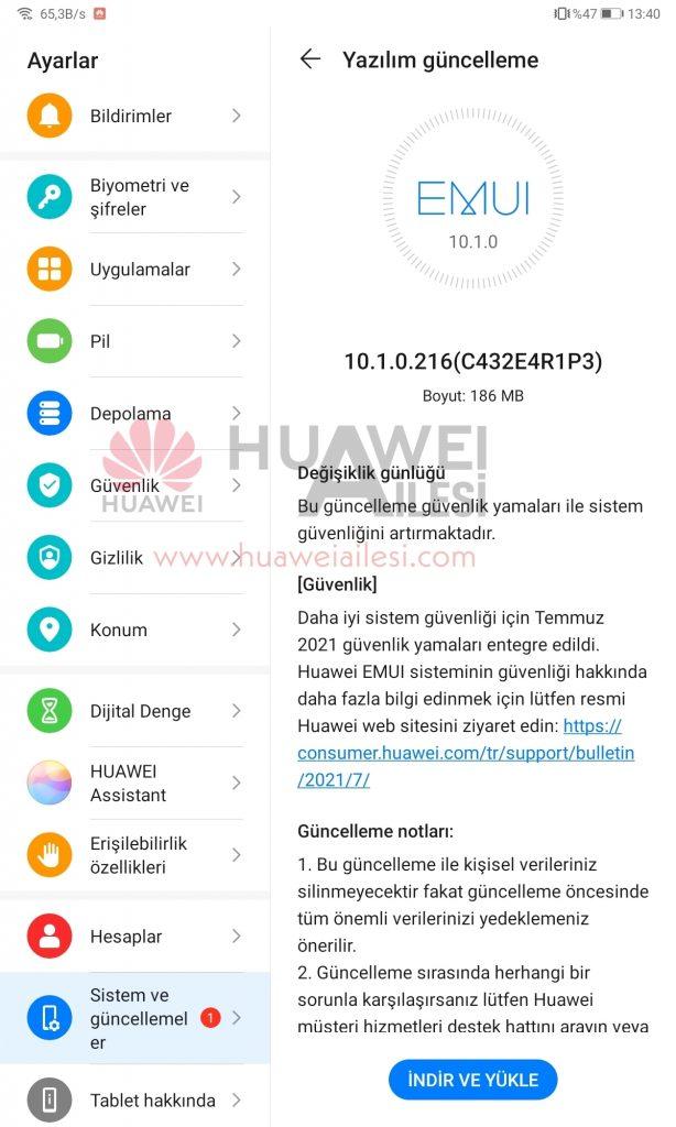 MatePad 10.4 July 2021 patch update