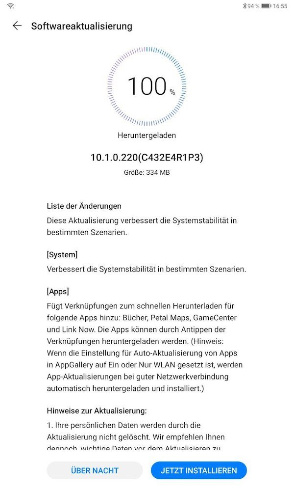 Huawei MatePad 10.4 inch Update Version 10.1.0.220