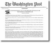 """第三世多杰羌佛獲得 """"馬丁路德金國際服務及領袖獎"""" (華盛頓郵報2011年1月13日新聞報導)"""