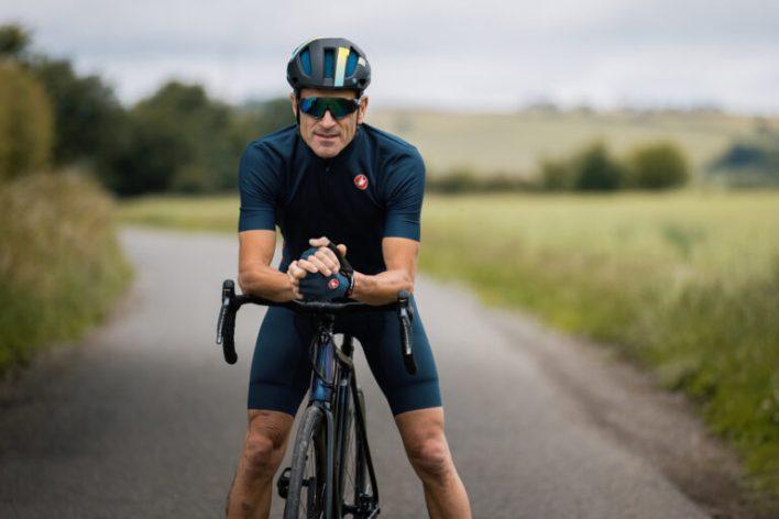 A cyclist posing
