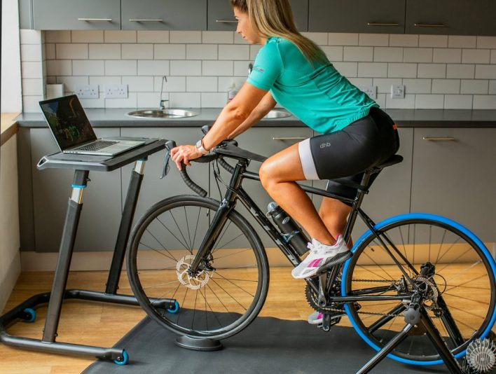 A cyclist turbo training using a non-smart trainer