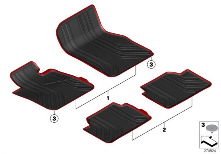 original bmw floor mats all weather front right hand drive anthrazit 51472287856