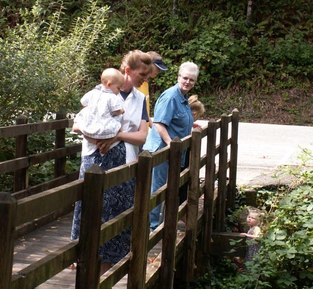 Picture of Lori and Grandma Dana on a bridge