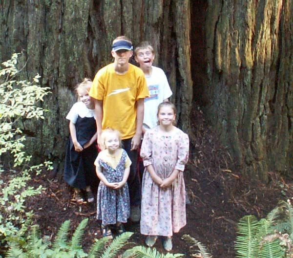 picture of Huber kids in front of redwood tree in 2004