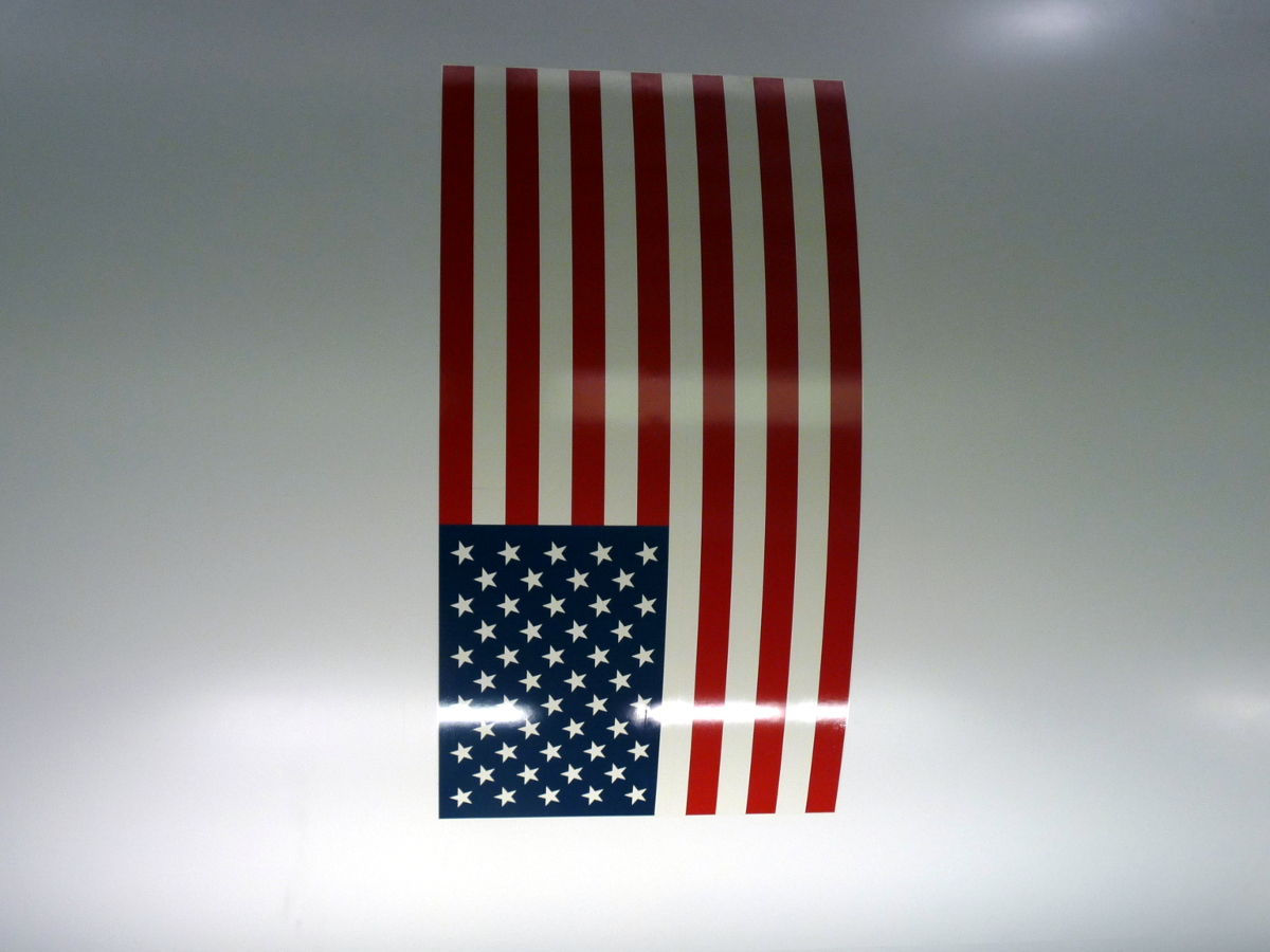 Picture of US flag on rocket fuselage