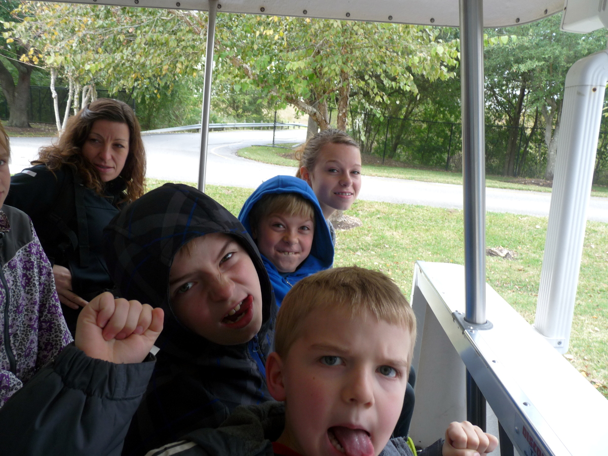 Picture of kids on SCH tram