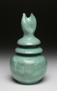 8 Teal Fish Head Jar
