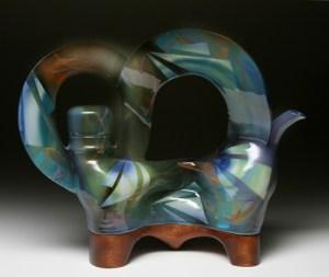 wide wood base teapot
