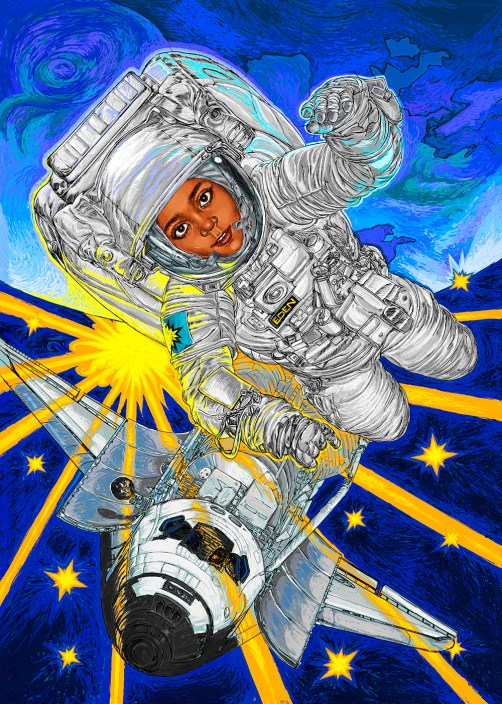 I'm a star children's book illustration astronaut illustration by hubertfineart