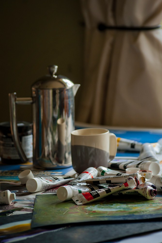 still life painting with coffee and liquitex image 1
