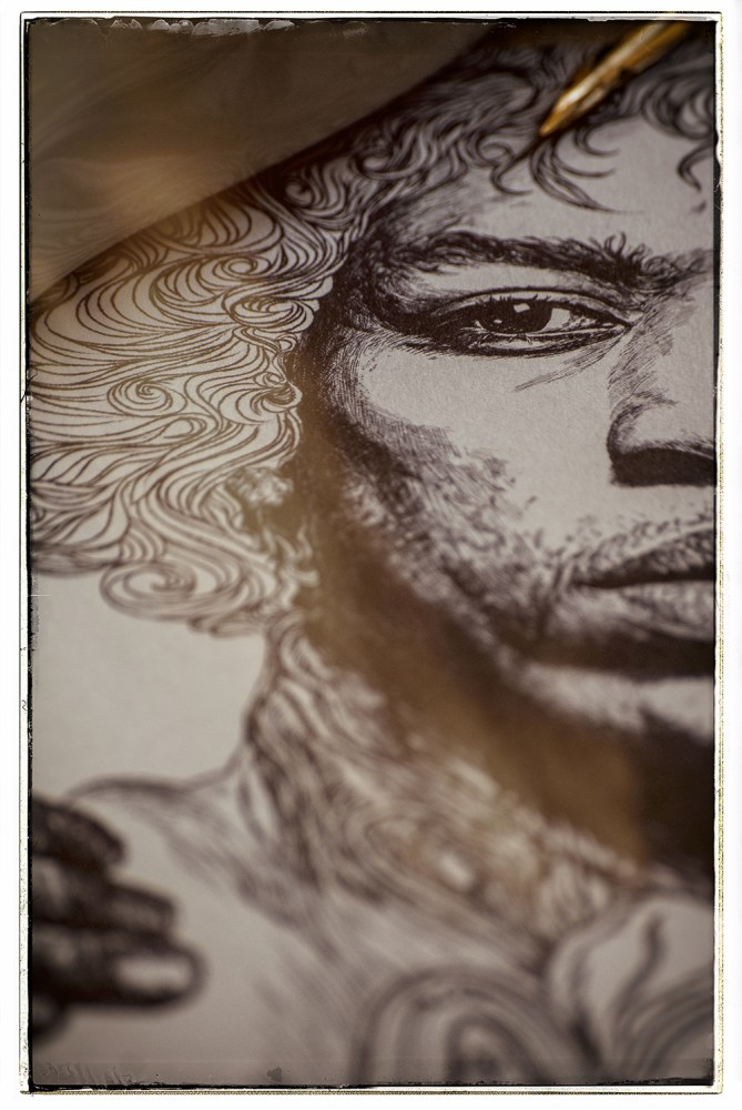 jimi hendrix illustration still life image 2
