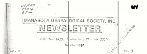 Manasota Genelogical Society, Inc. Newsletter, March 1980, vol. 2, no. 3