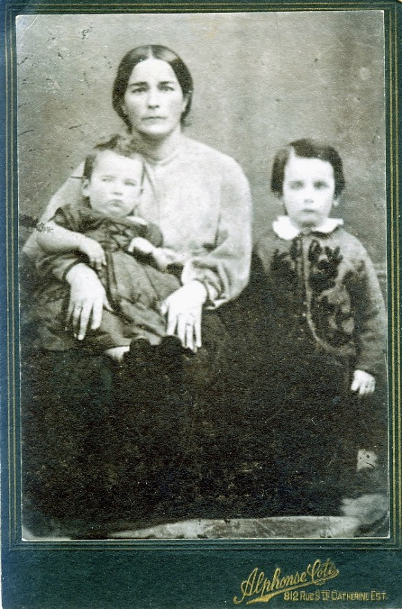 Joséphine Cantin, wife of Antoine Laneuville, with her two sons, Napoléon on her lap, and Joseph, my great-great-grandfather.
