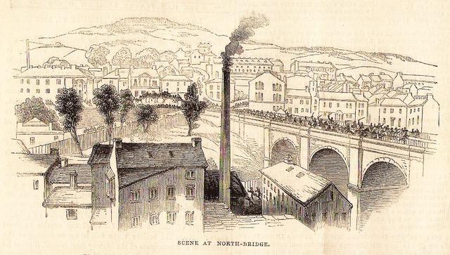 Crowds entering Halifax via North Bridge 1842