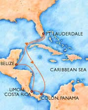 Route for our 2008 Carnival Miracle cruise